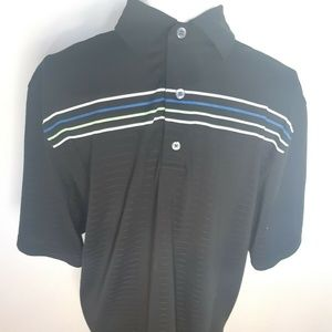 Footjoy Golf Polo Shirt Cantigny Black Stripes Med